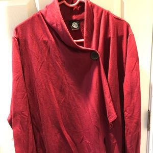 Bobeau Burgundy Single-button cardigan size 1X
